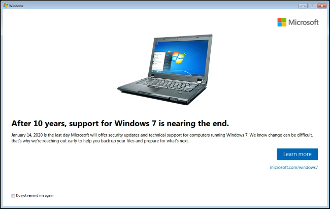 Support for Windows 7 & Windows Server 2008 is ending